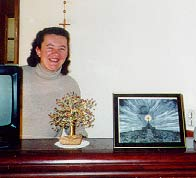 Vicka with framed print of Forgiveness